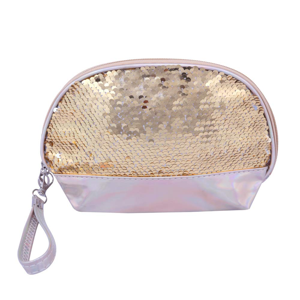 Shell Shape Gold holographic with Sequence Cosmetic Bag(Golden)