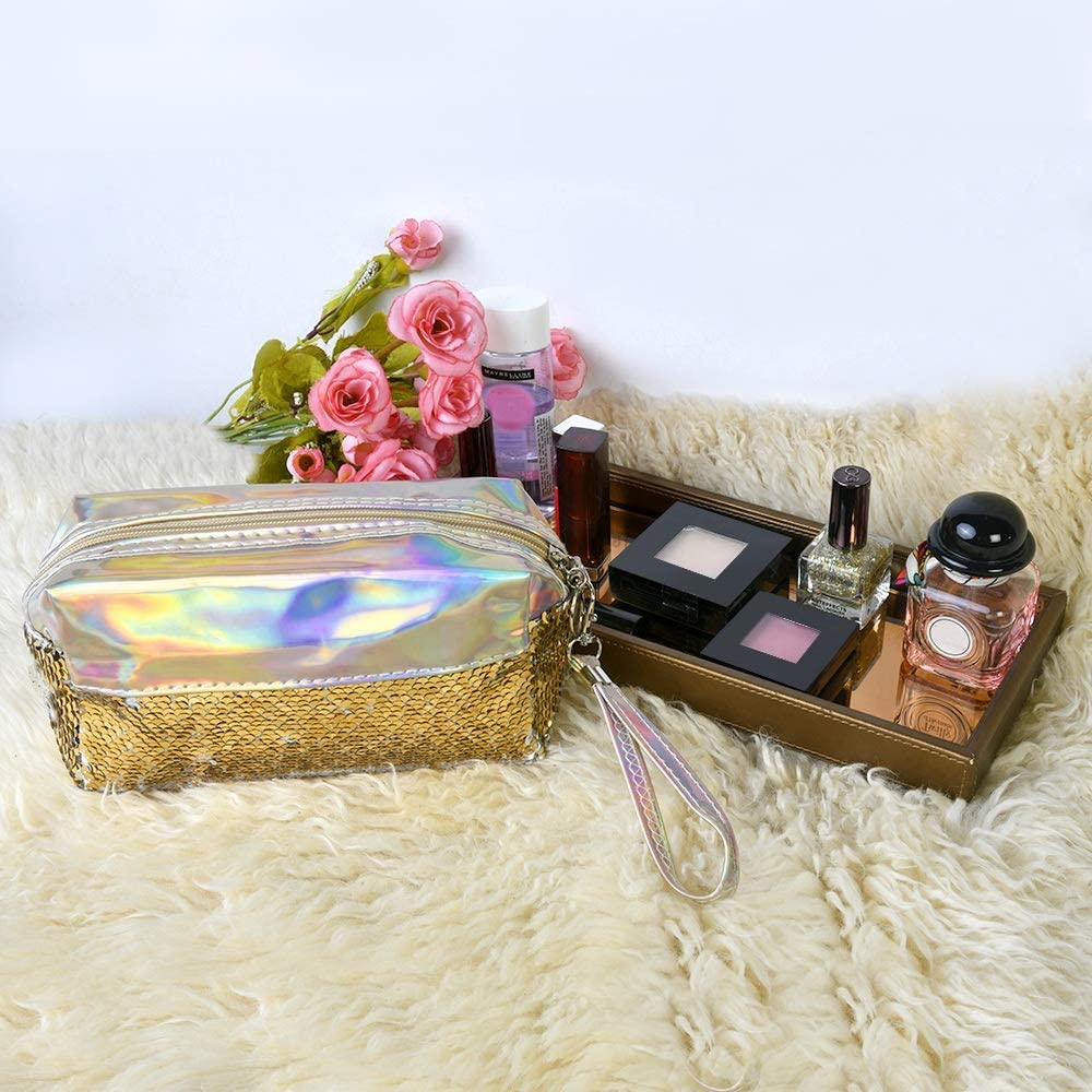 Holographic with Sequence Cosmetic Bag Women (Gold)