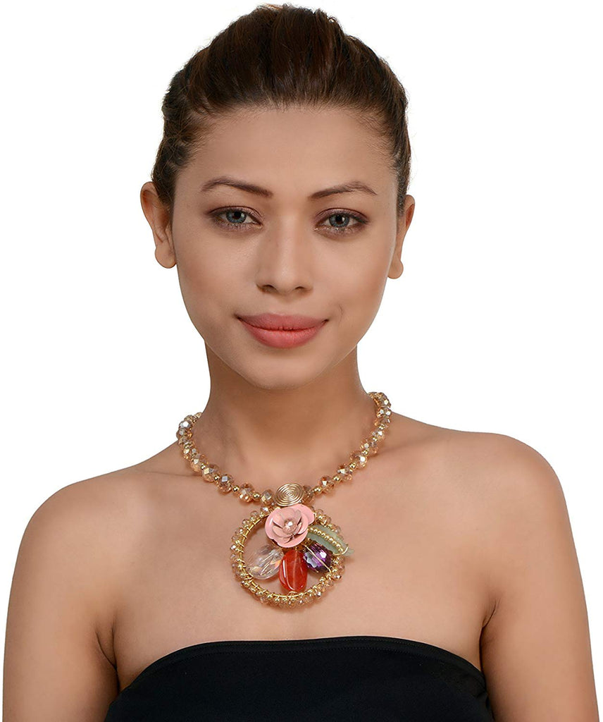 Pink Flower Design Pendent Necklace For Girls/Women