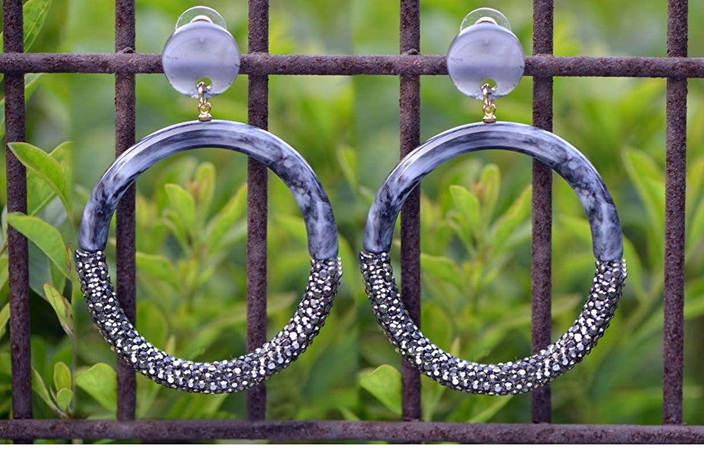 Shimmer Acrylic Round Hoop Earrings