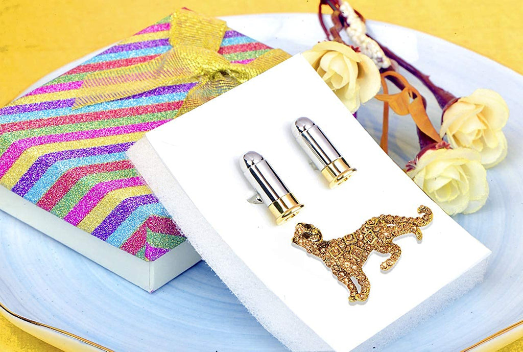 STRIPES Gift Hamper For Men ( Gold Leopard Brooch With Cuff link )