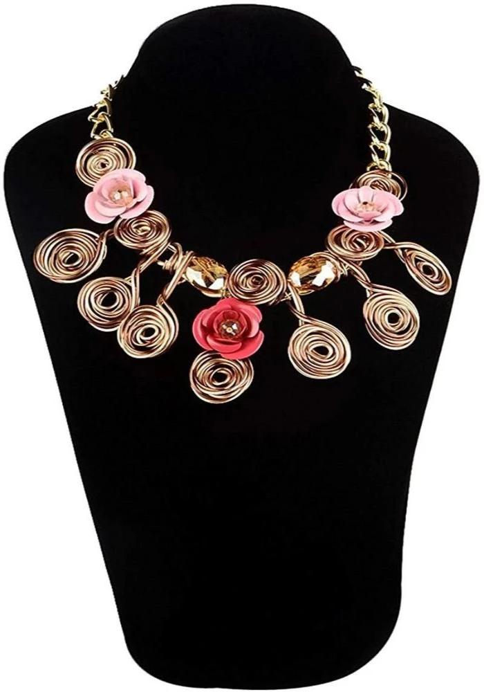 Metal Coil Design Bib Necklace For Girls/Women