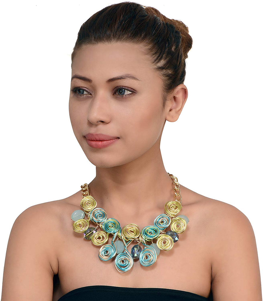 Golden Colour Metal Coil Design Bib Necklace