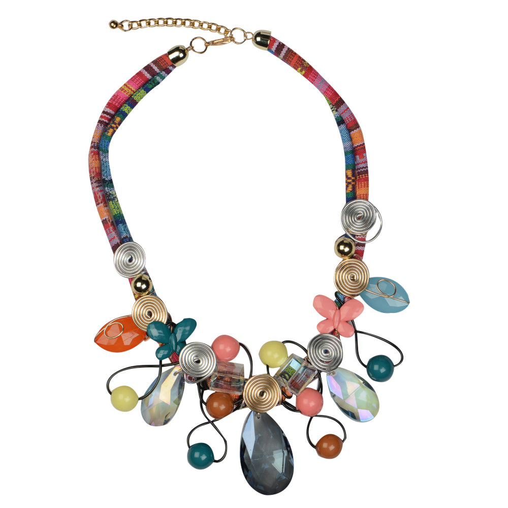 Flower Design Multi Colour Necklace