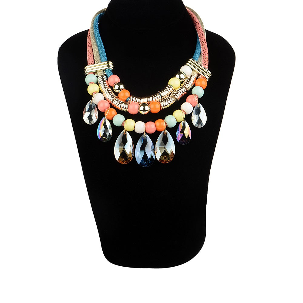 Multi Color Crystal Statement Necklaces