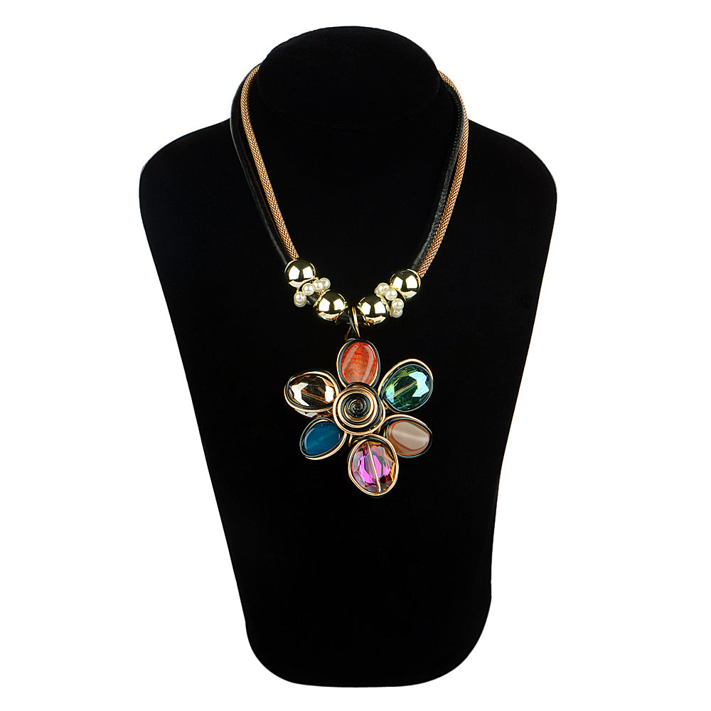Flower Design with Multi Colour Necklace