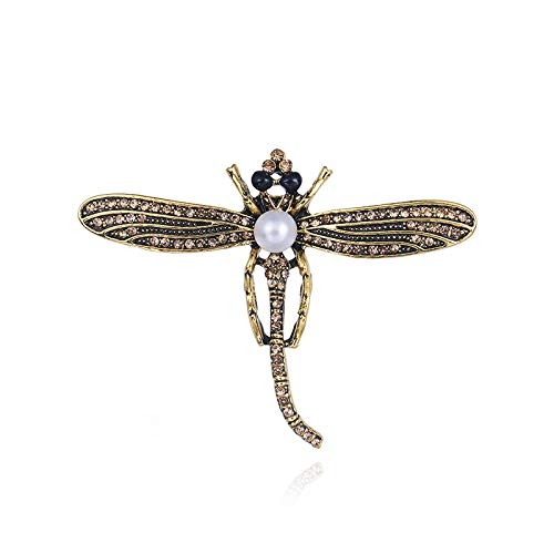 Dragonfly Design Crystal and Pearl Bronze Color Saree Coat/Pin/Brooch/Hijab Pin for Women/Girls