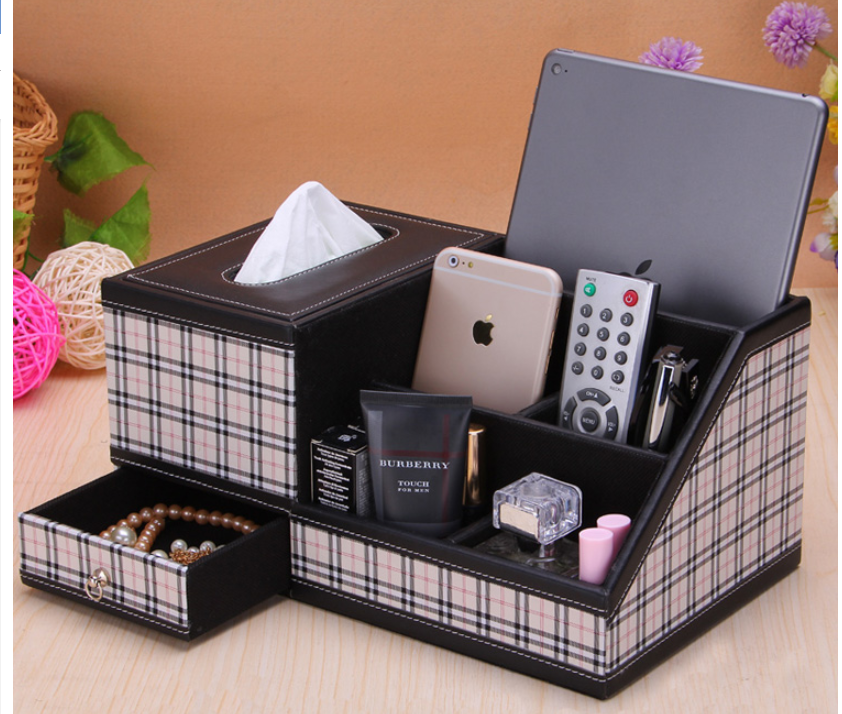 Multifunction PU Leather Tissue Box