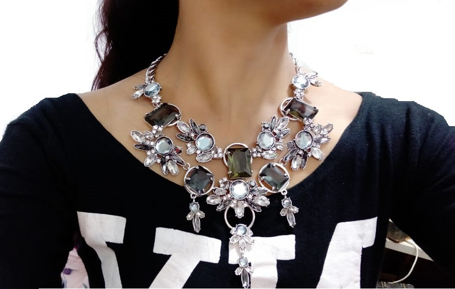 Silver Colour with Crystal Statement Necklace