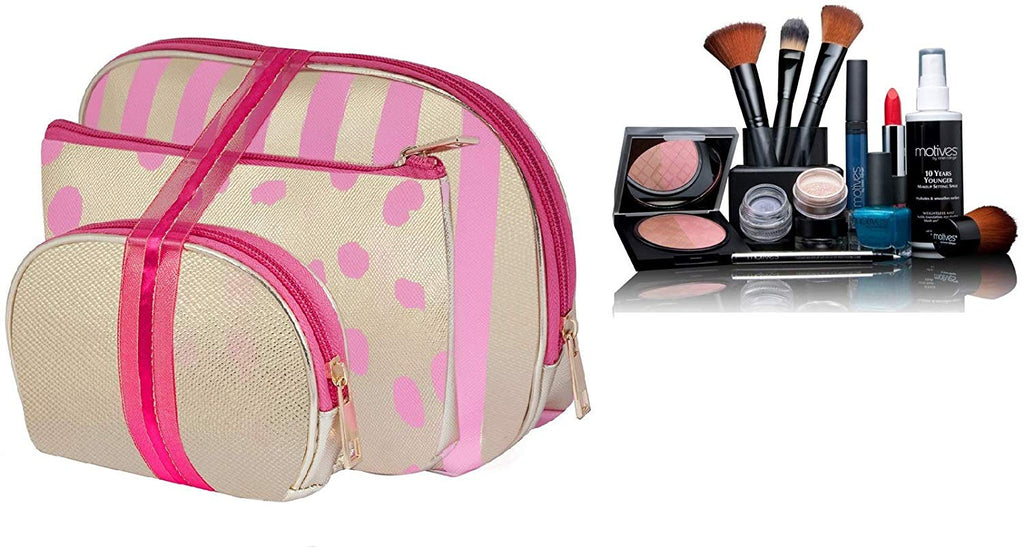 Golden Dark Pink Pu 3Pcs Toiletries Make Up Pouch