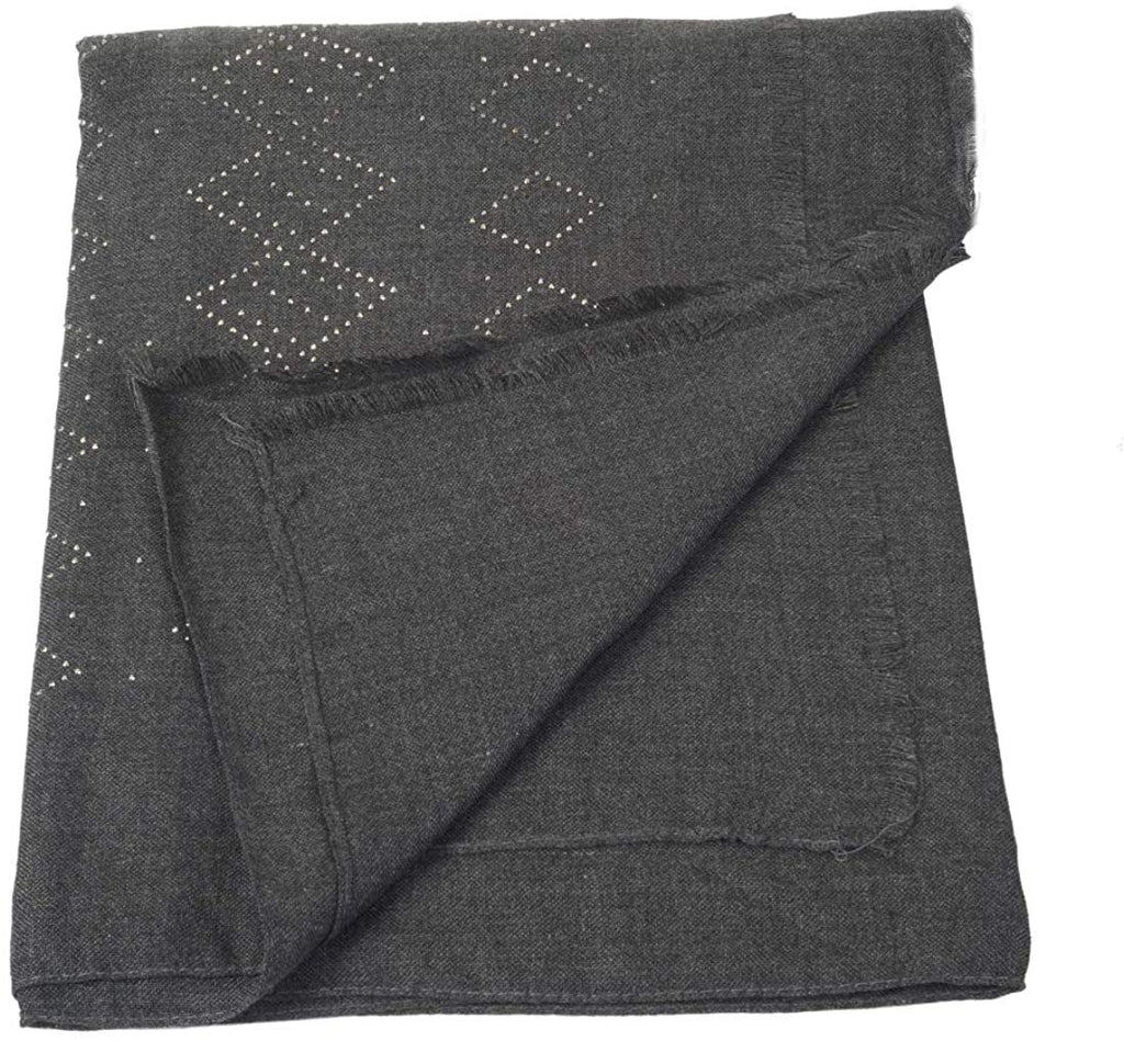 Woolen Luxury Exclusive Crystal Design Soft Designer Shawl (Grey Color)