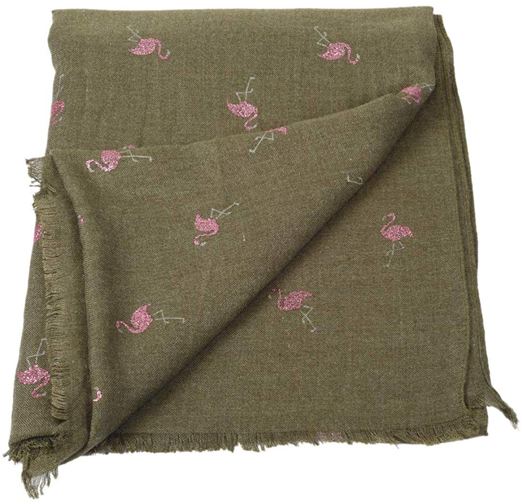 Woollen Designer Glitter Shiny Flamingo Soft Shawl (Green Color)