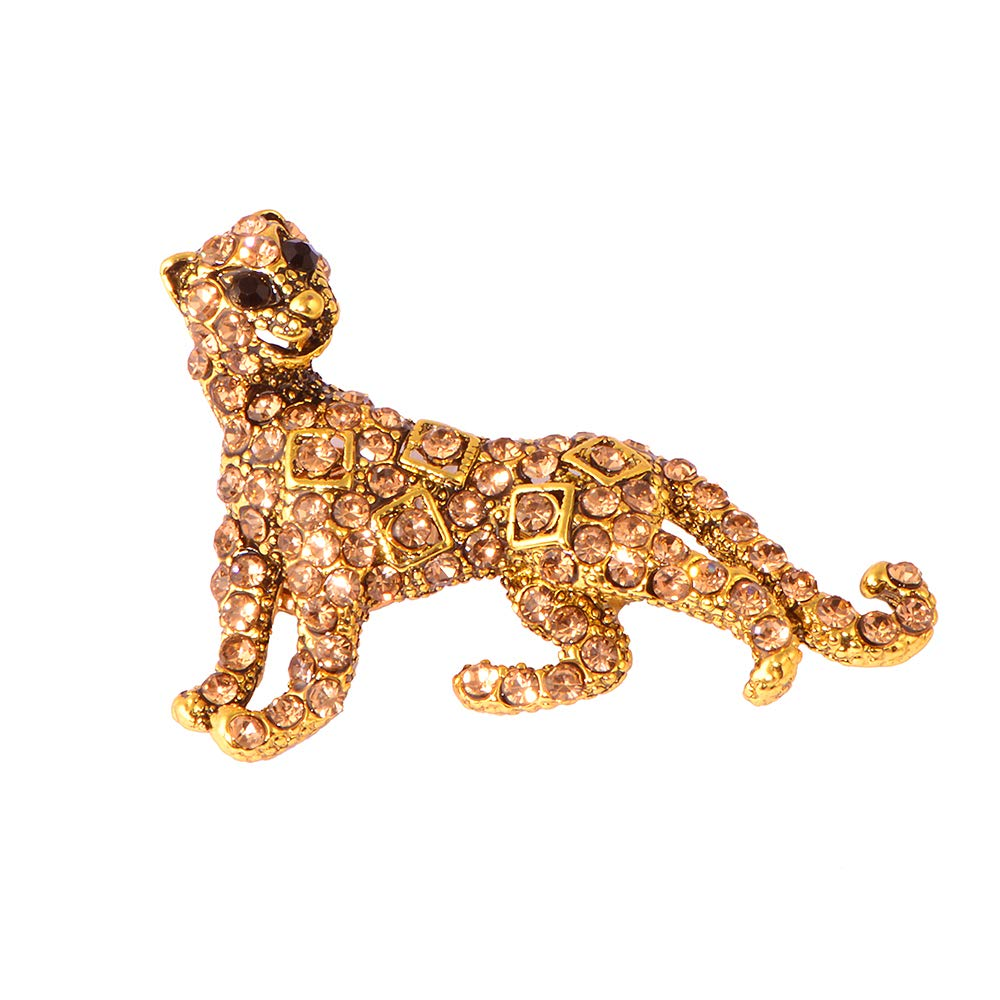 Gold Crystal Diamond Leopard Brooch Pins for Unisex
