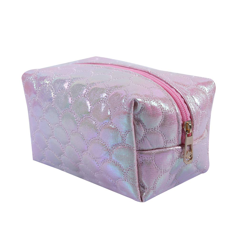 Fish Fin Design Holographic Cosmetic Bag (Pink)