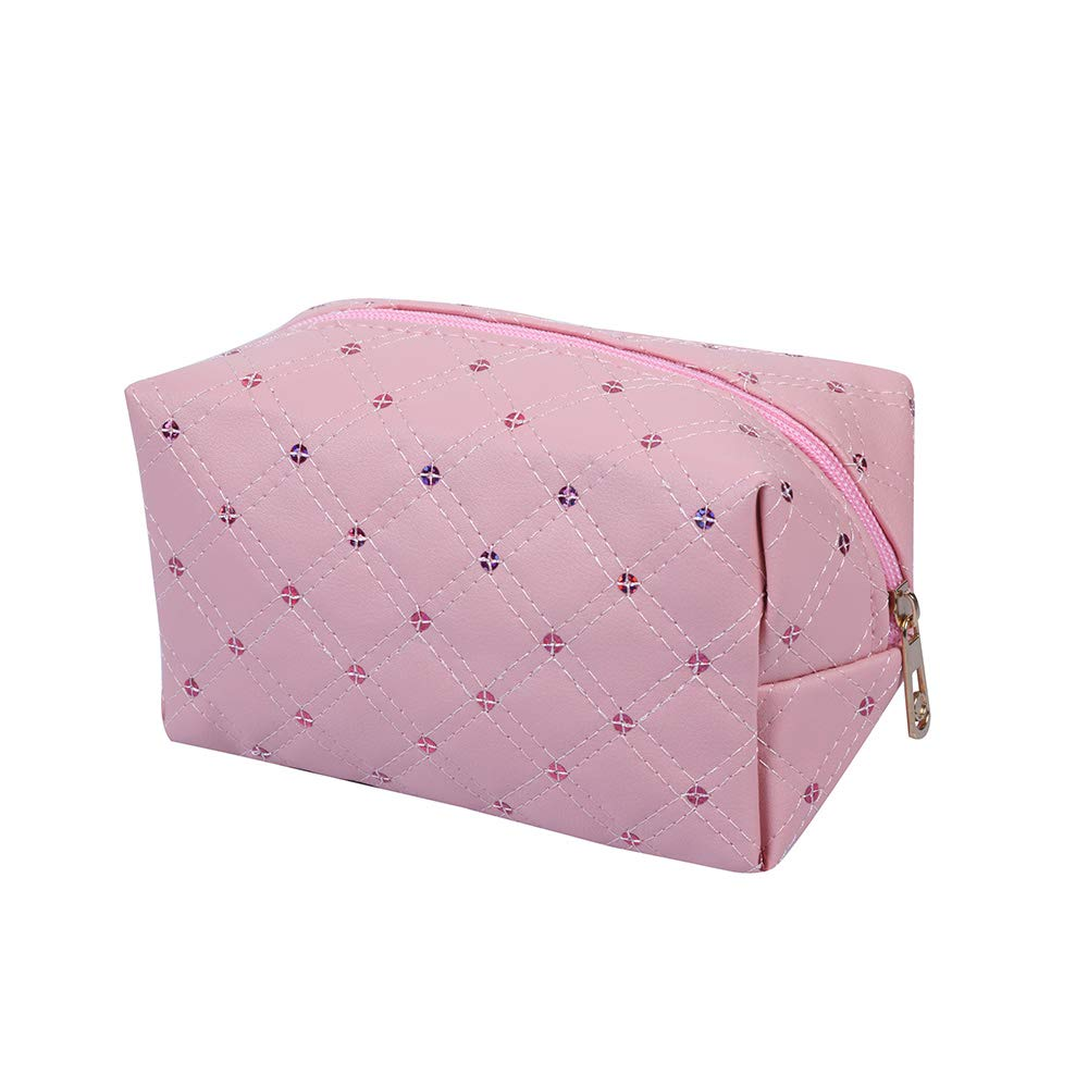 Quilted Design with Sequin Cosmetic Bag(Pink)