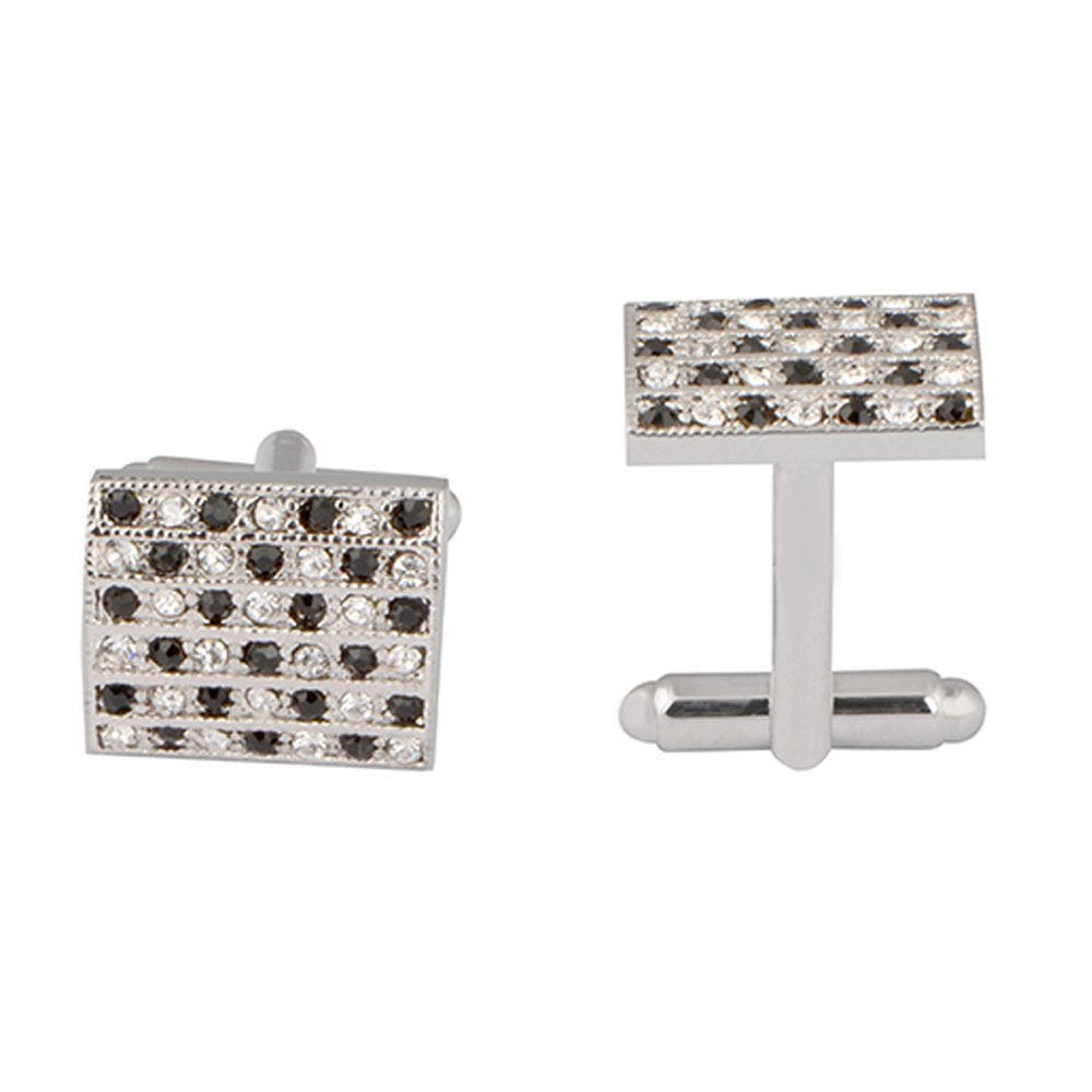 Silver and Black Crystal Cuff Links
