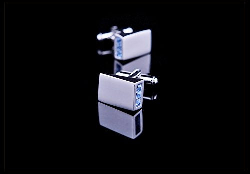 Silver with Blue Crystal Cuff Links
