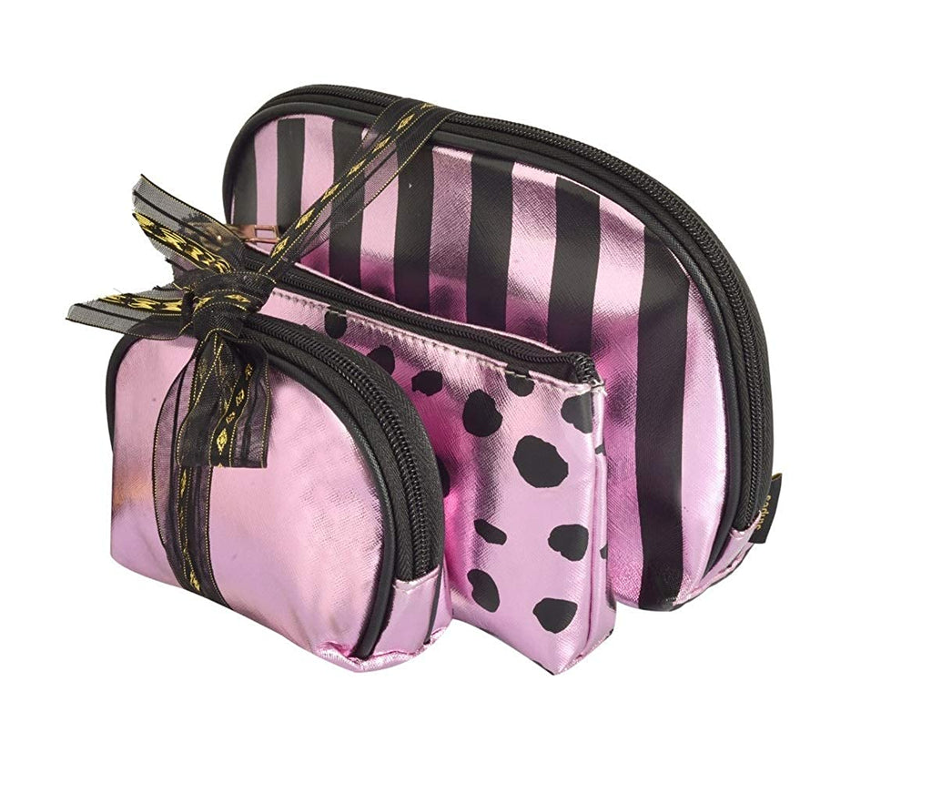 Waterproof PU Mauve/Black Toiletries Make Up Pouch (Set of 3)