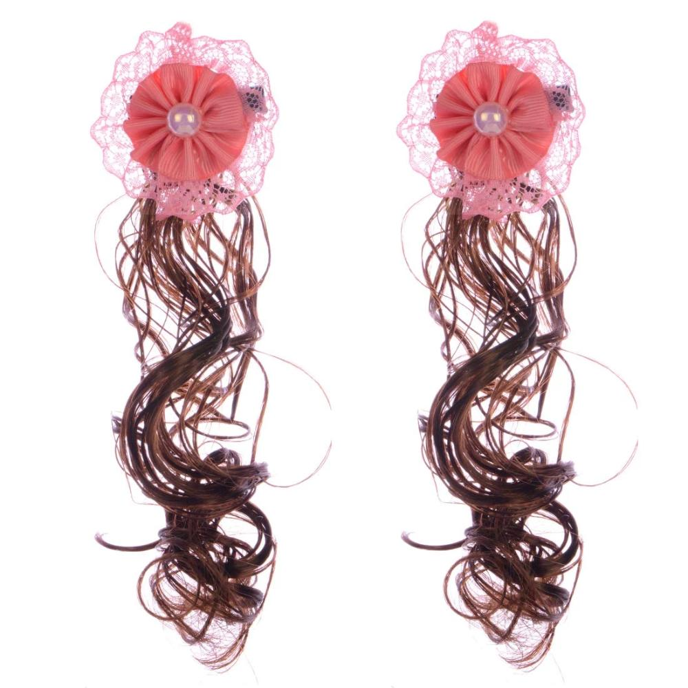 Pair of One Long Curly Hair Clips(Peach)