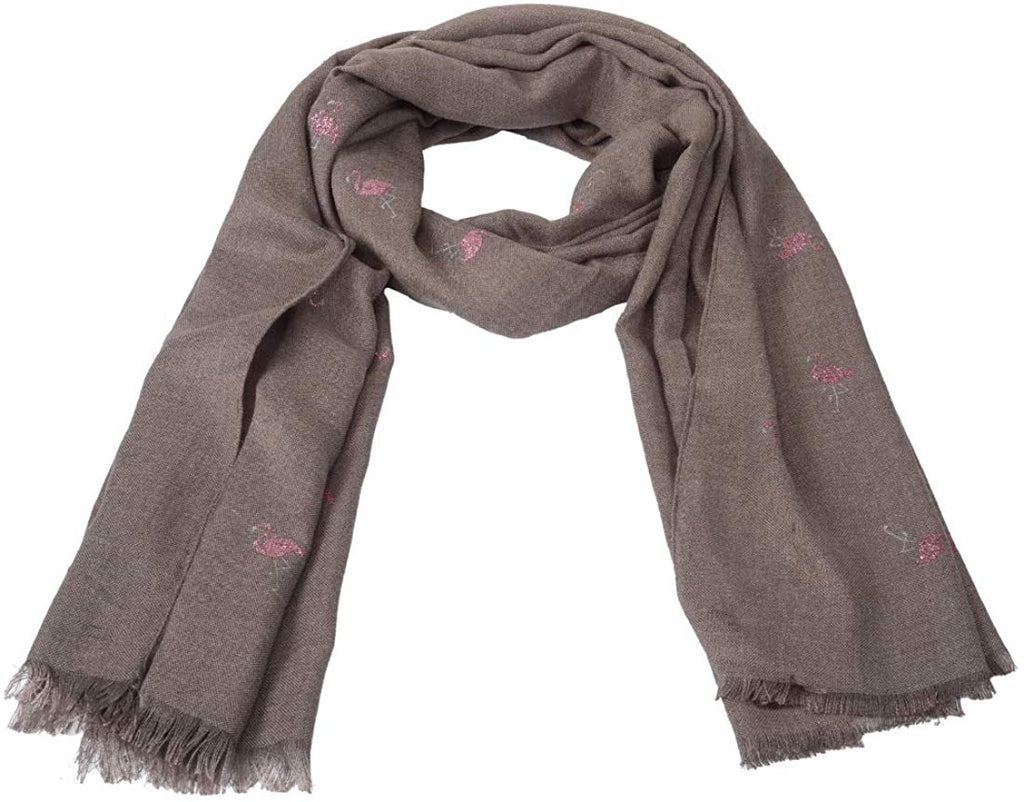 Woollen Designer Glitter Shiny Flamingo Soft Shawl (Brown Color)