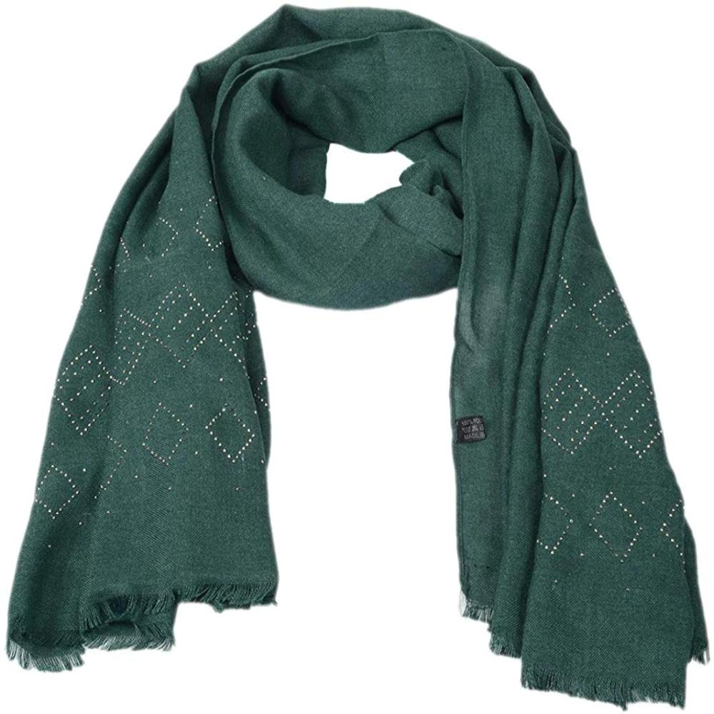 Woolen Crystal Design Soft Design Shawl For Women/Girls(Green Color)