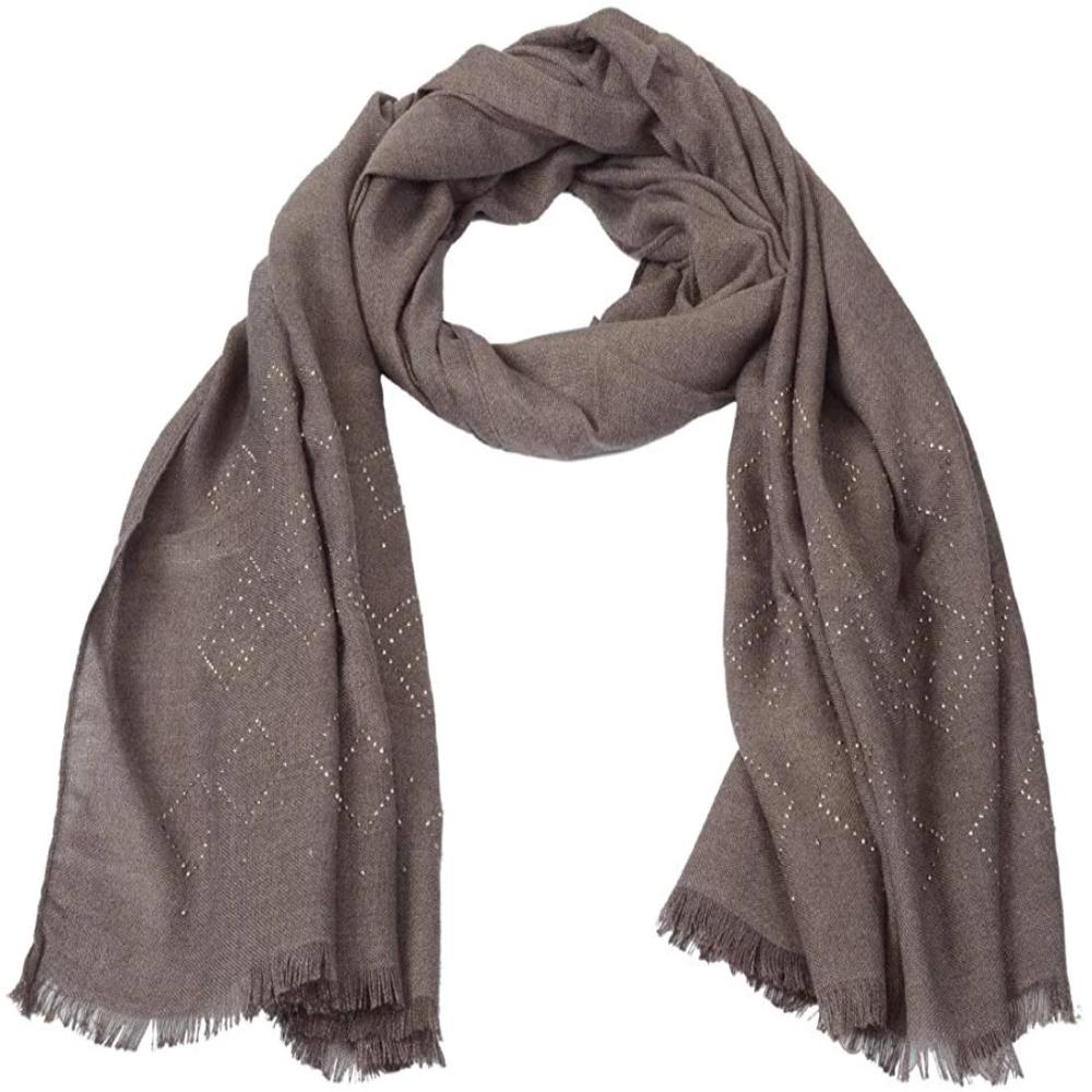 Woolen Luxury Exclusive Crystal Design Soft Designer Shawl(Brown Color)