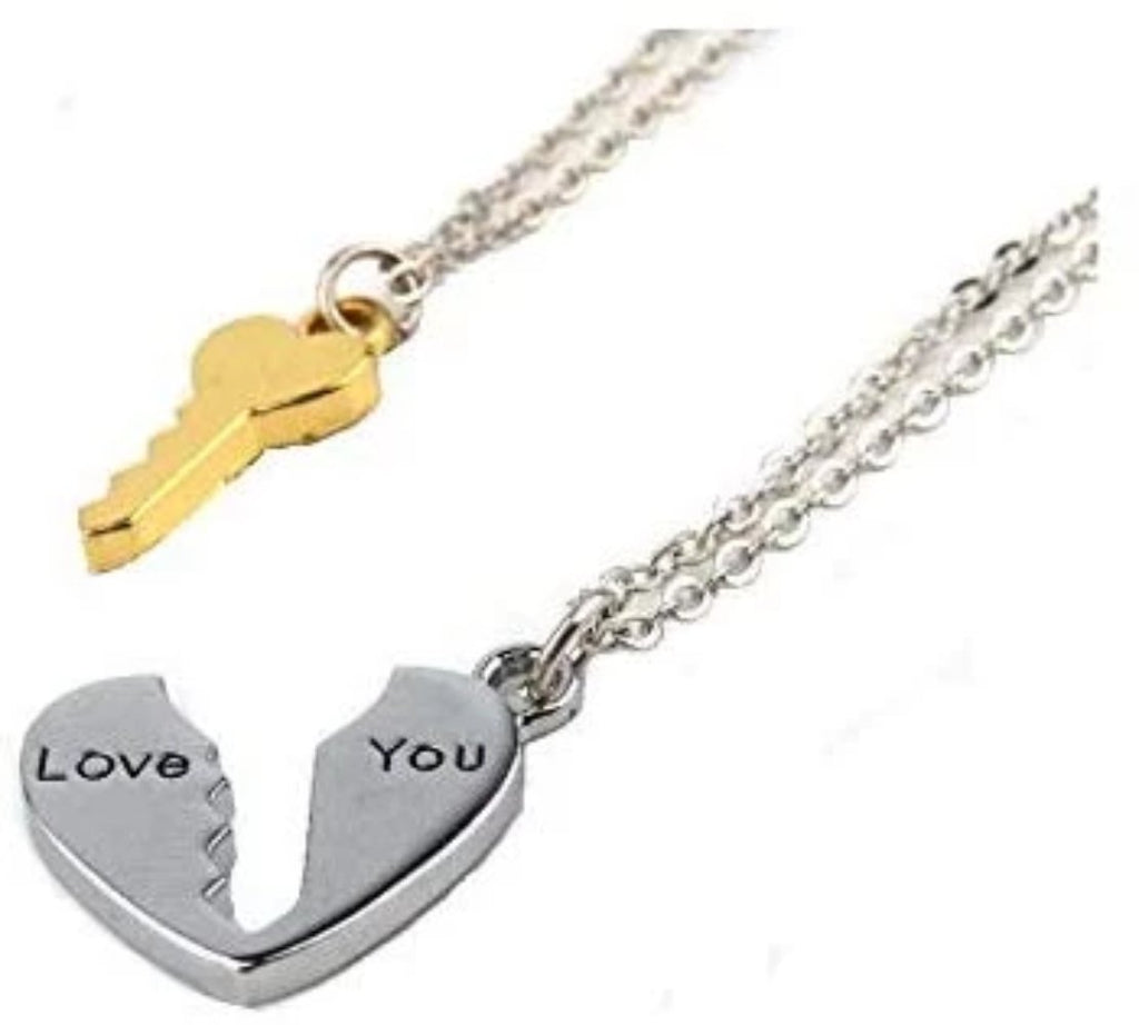 Heart with Key Pendant Couples Necklace Set