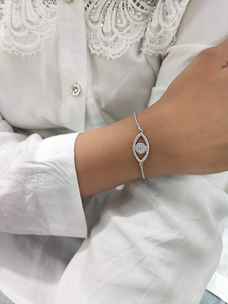 Silver Chain with Crystal Eye Design Bracelet
