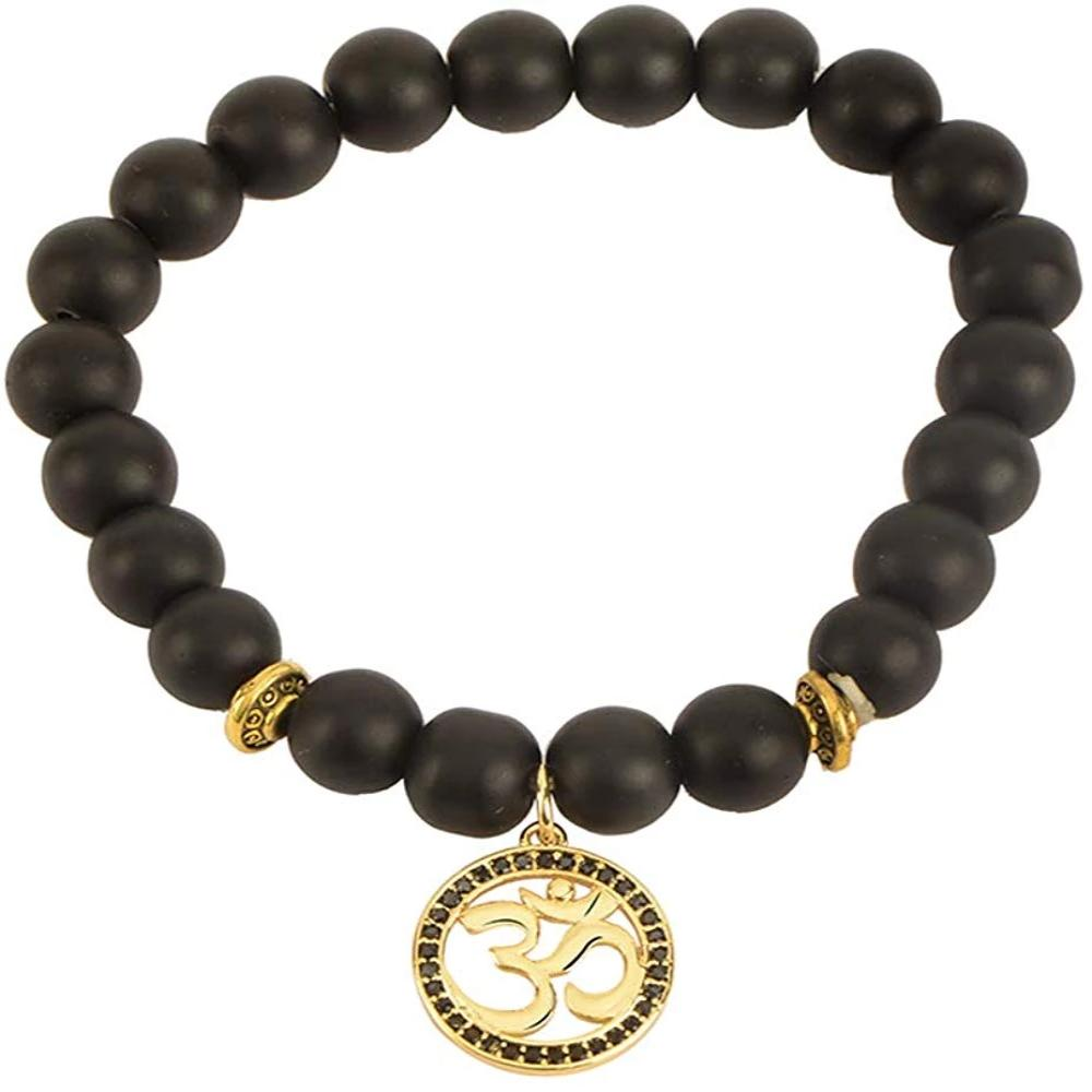 Om Pendant with Black Crystal Black Agate Stones Bracelet