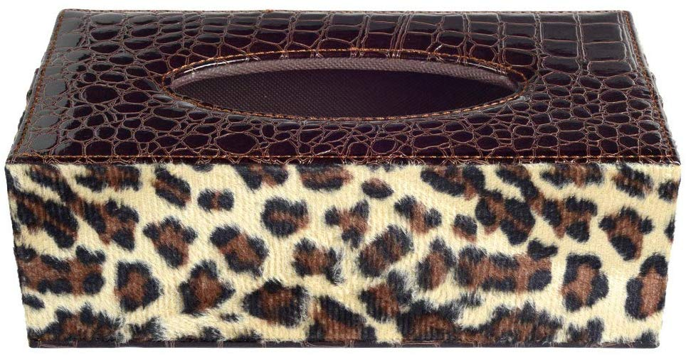 Brown Leopard Skin Print Rectangle Tissue Box
