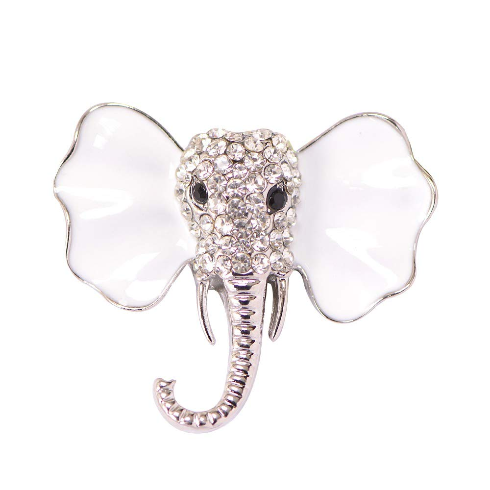 Silver Crystal Diamond Elephant Brooch Pins for Unisex