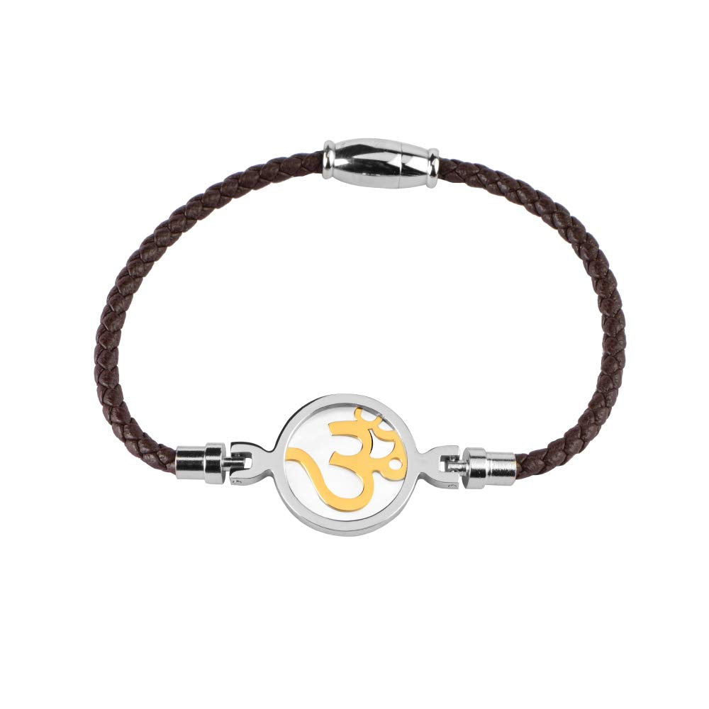 Brown Leather Rope Om Bracelets for Women