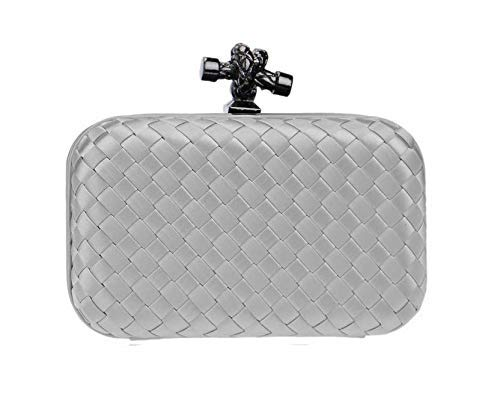 Grey Color Woven Style Clutch Purse
