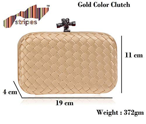 Gold Color Woven Style Clutch Purse
