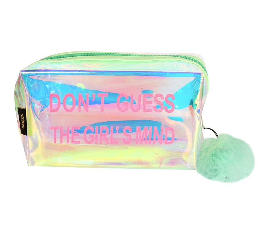 Waterproof PVC Transparent holographic Make up Pouch (Light Green)