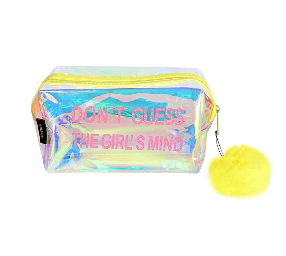 Waterproof PVC Transparent holographic Make up Pouch (Yellow)