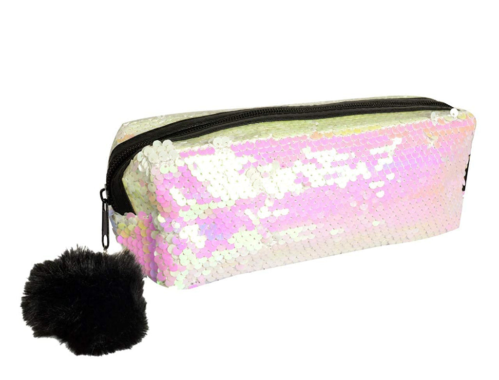 White Colour Reversible Sequins Makeup Pouch