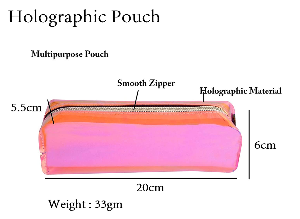 STRIPES Pink Holographic Pencil Case Makeup Pouch