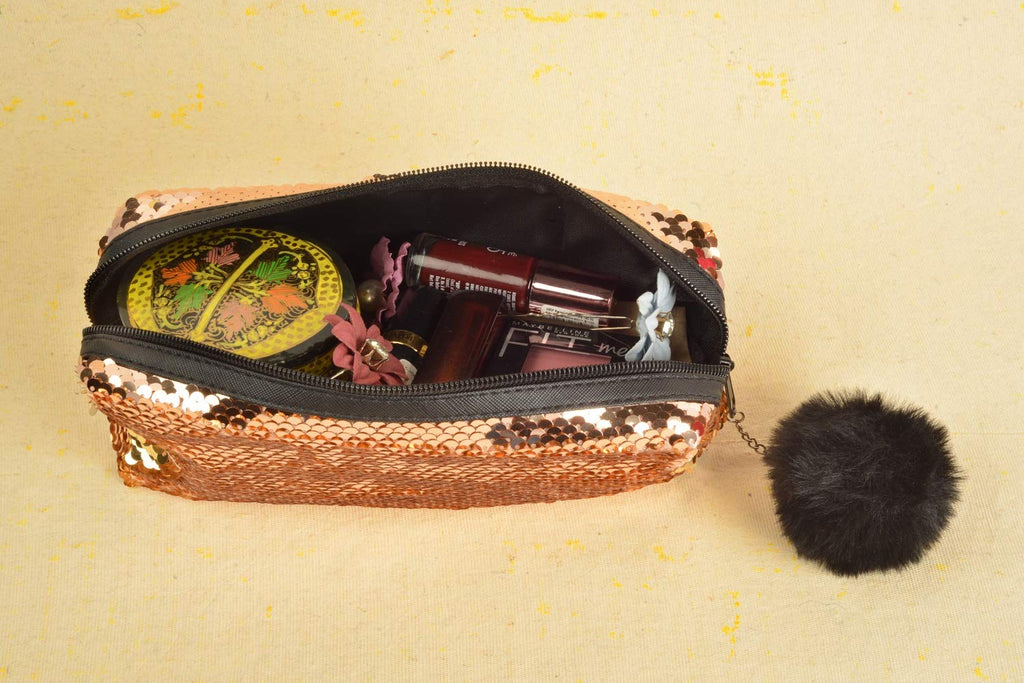 STRIPES Bronze Color Reversible Sequins Makeup Pouch