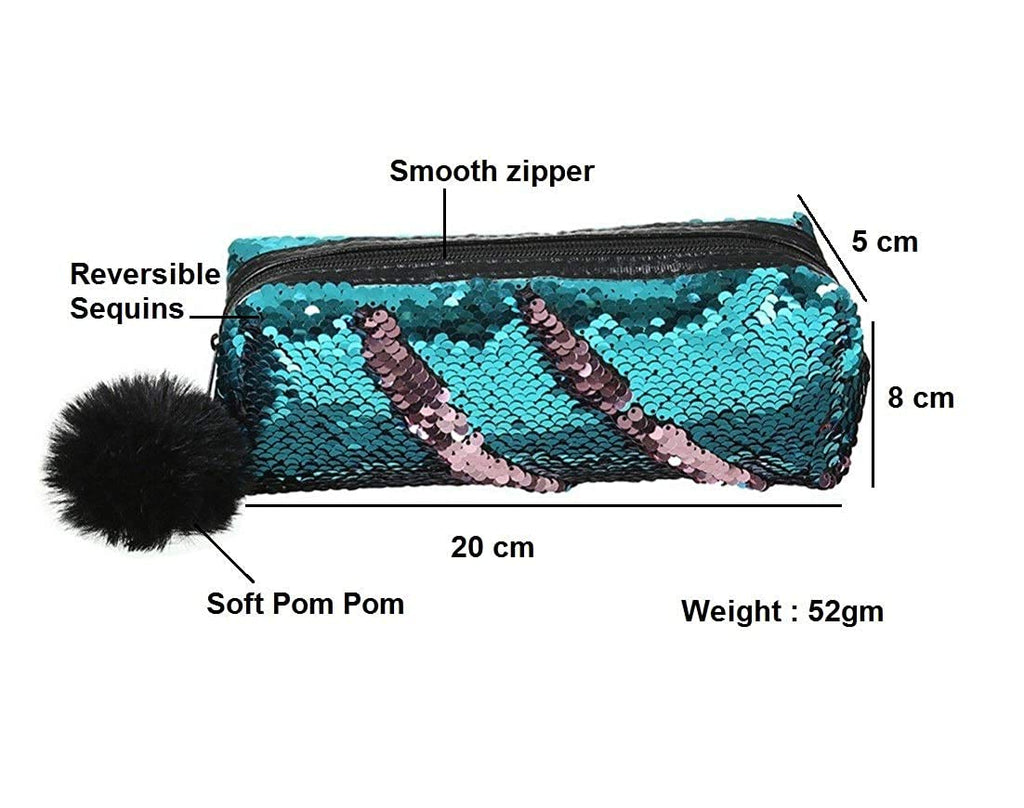 Holographic Make up Pouch and Mermaid Sequin Pencil Pouch (Light Green and Blue Color)