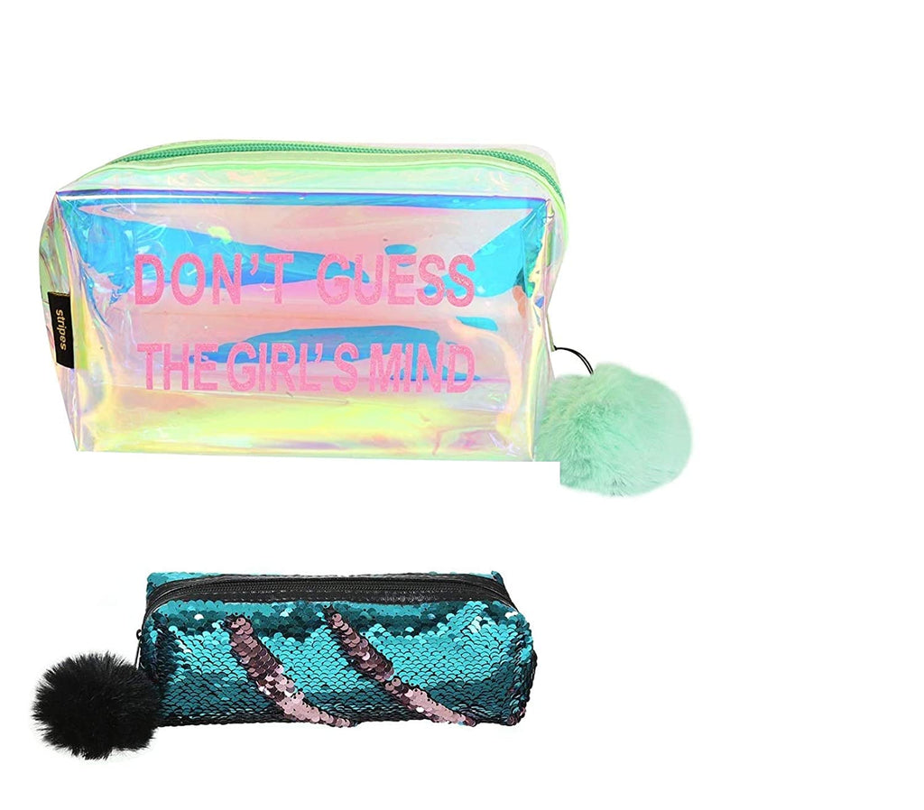 Holographic Make up Pouch and  Sequin Pencil Pouch (Light Green and Blue Color)