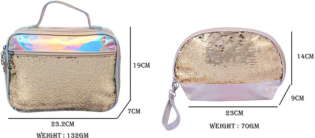 Set of 2 Toiletry Bag Makeup Cosmetic Bag(Golden)