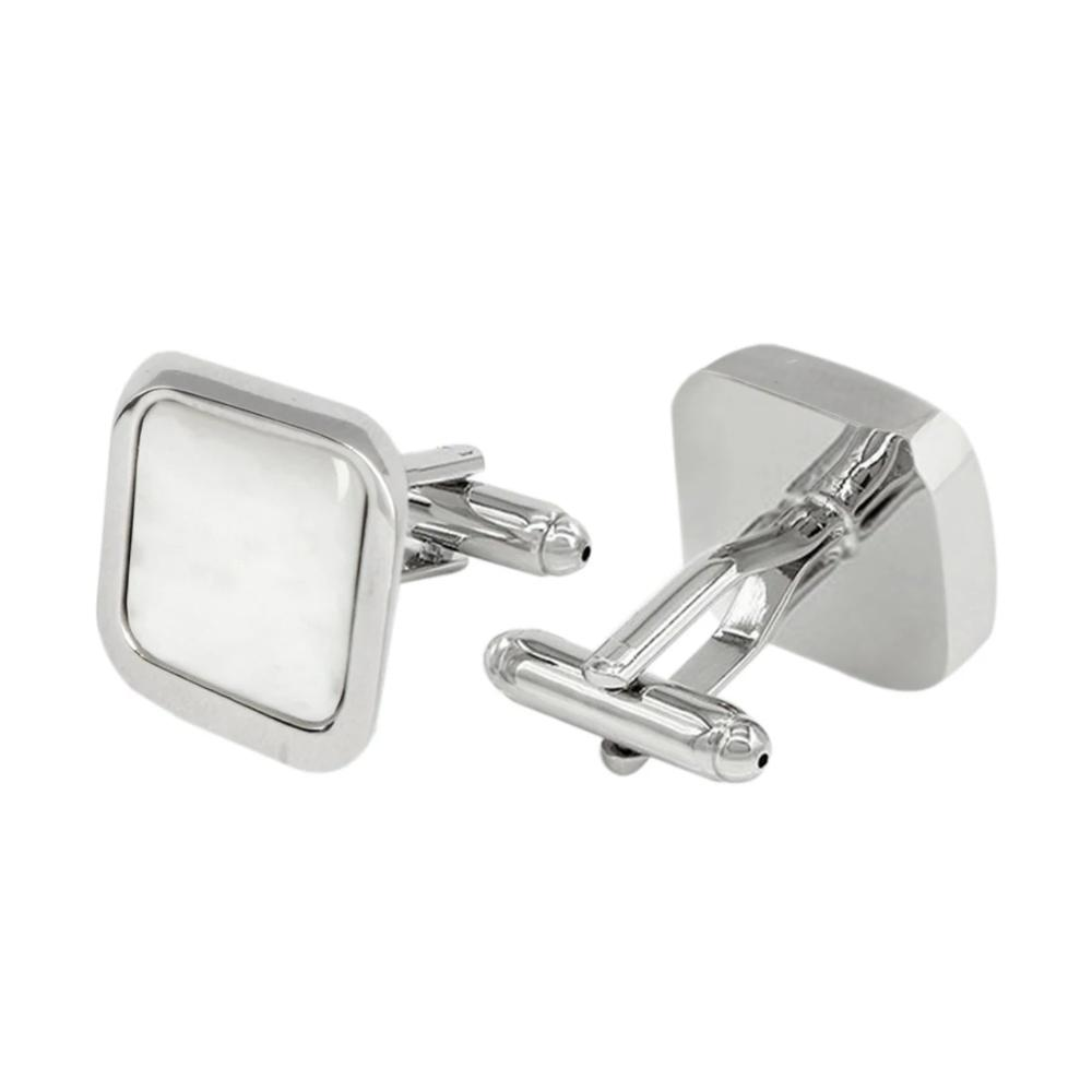 White and Silver Cuff Links for Men