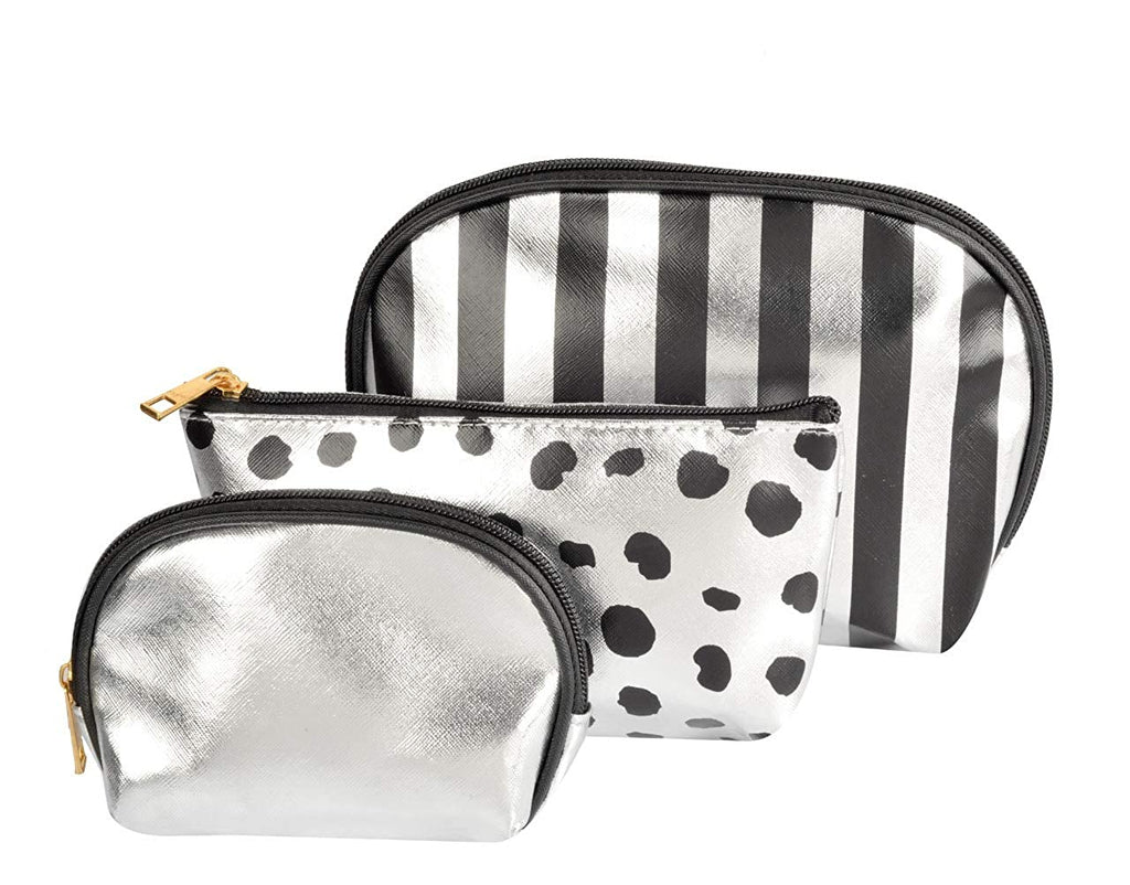 Waterproof PU Silver / Black Toiletries Make Up Pouch (Set of 3)