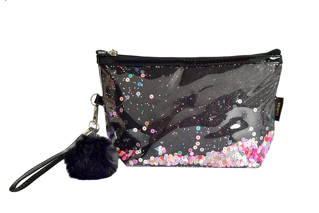 STRIPES Black Glitter Sparkling Colorful Sequins Make up Pouch
