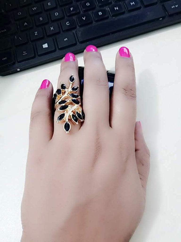 Leaf Design 3 Piece Long Ring Set