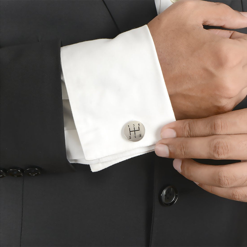 Silver Car Gear Design Cuff Links