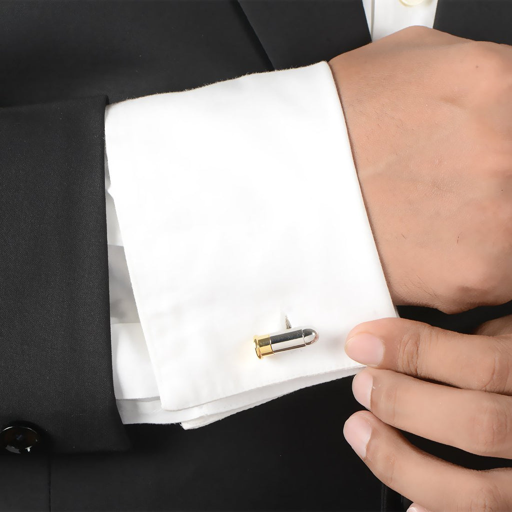 Silver and Gold Bullet Shape Cuff Links.