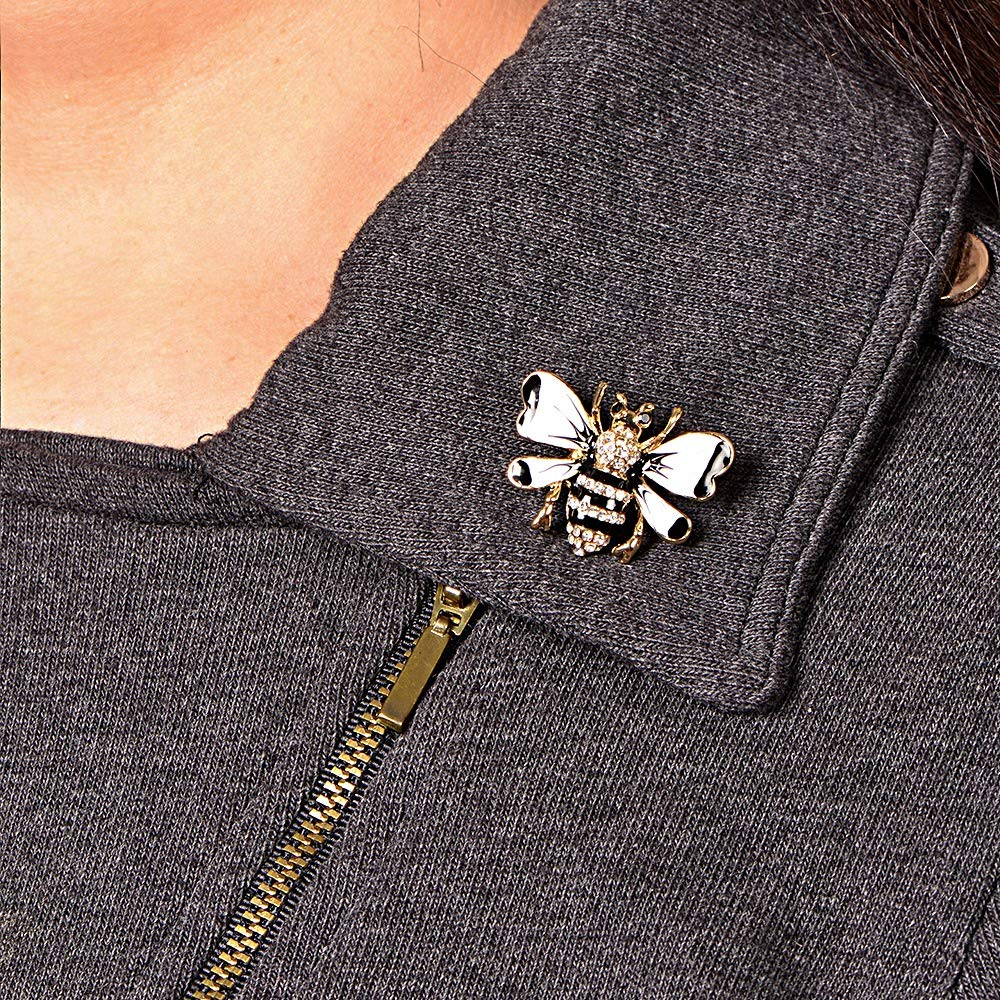 White/Black/Gold Bumble Bee Brooch for Unisex