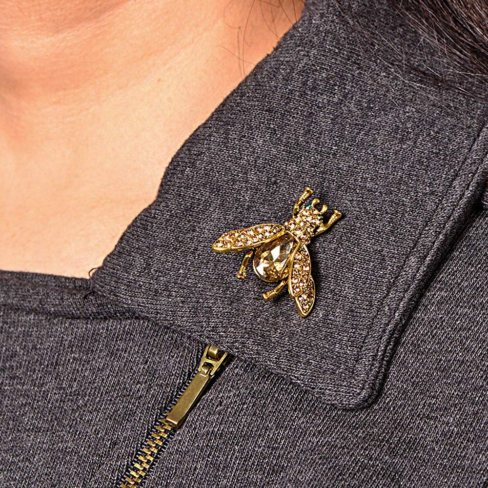 Gold Crystal Bee Brooch for Unisex